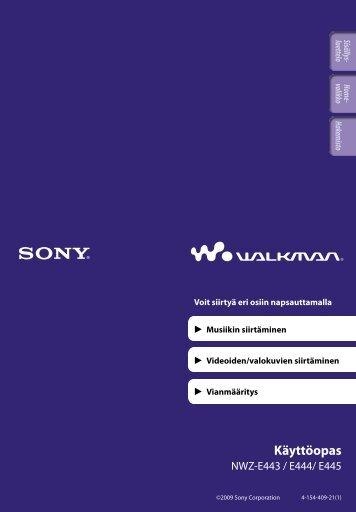 Sony NWZ-E443 - NWZ-E443 Istruzioni per l'uso Finlandese