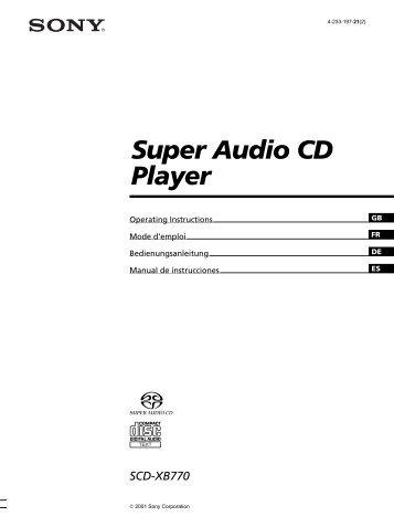 Sony SCD-XB770 - SCD-XB770 Istruzioni per l'uso Inglese