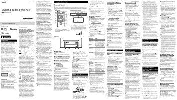 Sony CMT-X5CD - CMT-X5CD Istruzioni per l'uso Italiano