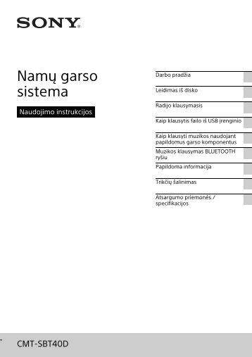 Sony CMT-SBT40D - CMT-SBT40D Istruzioni per l'uso Lituano
