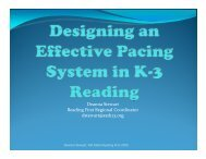 Designing an Effective Pacing System in K-3 - Office of ...