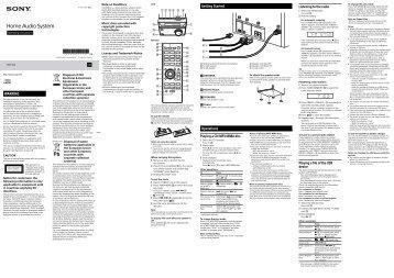 Sony CMT-S20 - CMT-S20 Istruzioni per l'uso Inglese