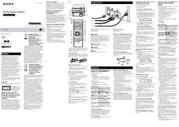 Sony CMT-S20B - CMT-S20B Istruzioni per l'uso Inglese