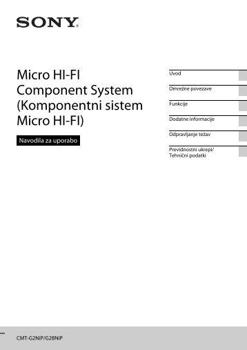 Sony CMT-G2BNiP - CMT-G2BNIP Istruzioni per l'uso Sloveno