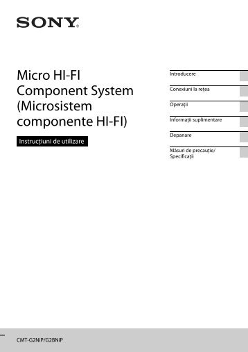 Sony CMT-G2BNiP - CMT-G2BNIP Istruzioni per l'uso Rumeno