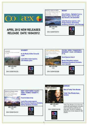 APRIL 2012 NEW RELEASES RELEASE DATE 16/04/2012 - Home