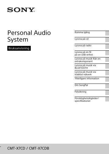 Sony CMT-X7CDB - CMT-X7CDB Istruzioni per l'uso Svedese