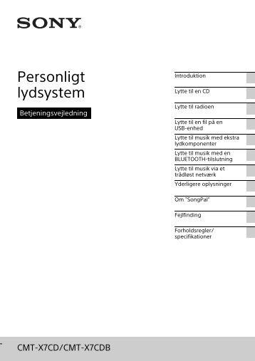 Sony CMT-X7CDB - CMT-X7CDB Istruzioni per l'uso Danese