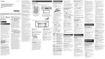 Sony CMT-X5CDB - CMT-X5CDB Istruzioni per l'uso Finlandese