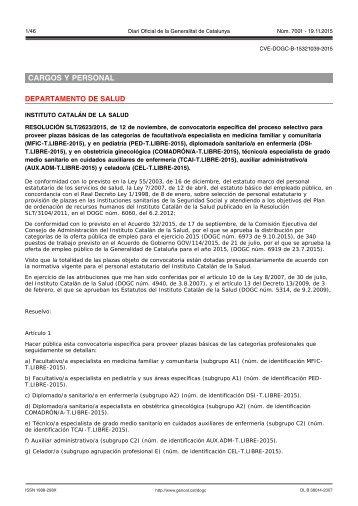 CARGOS Y PERSONAL DEPARTAMENTO DE SALUD