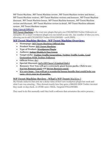 WP Tweet Machine Review - WP Tweet Machine +100 bonus items