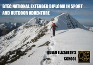BTEC NATIONAL EXTENDED DIPLOMA IN SPORT AND OUTDOOR ADVENTURE