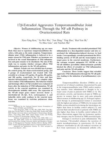 17estradiol aggravates temporomandibular joint inflammation ...