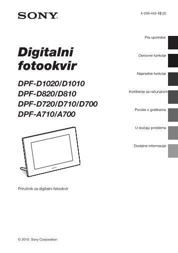 Sony DPF-A710 - DPF-A710 Istruzioni per l'uso Serbo