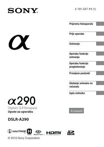 Sony DSLR-A290 - DSLR-A290 Istruzioni per l'uso Croato