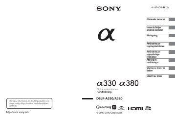 Sony DSLR-A330 - DSLR-A330 Istruzioni per l'uso Svedese