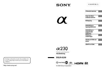 Sony DSLR-A230L - DSLR-A230L Istruzioni per l'uso Svedese