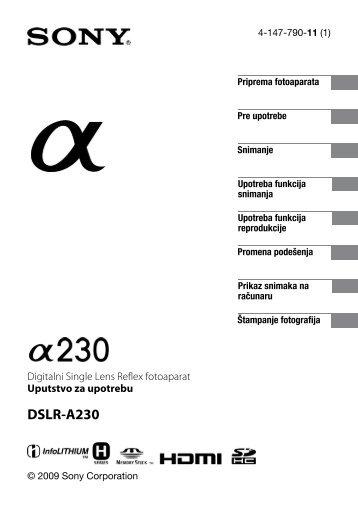 Sony DSLR-A230L - DSLR-A230L Istruzioni per l'uso Serbo
