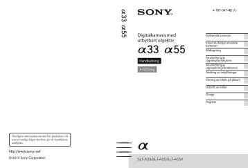 Sony SLT-A55VL - SLT-A55VL Istruzioni per l'uso Svedese