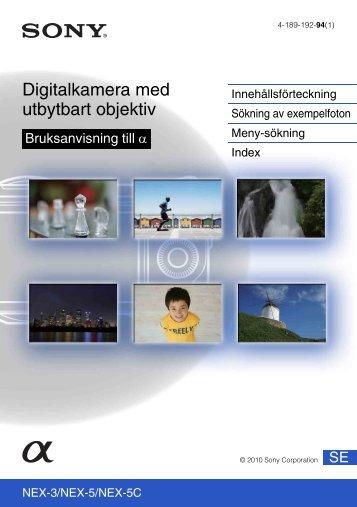 Sony NEX-5A - NEX-5A Guida all'uso Svedese