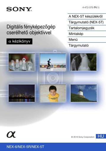 Sony NEX-5TY - NEX-5TY Guida all'uso Ungherese