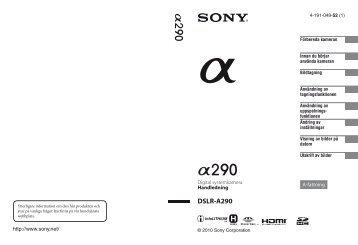 Sony DSLR-A290L - DSLR-A290L Istruzioni per l'uso Svedese