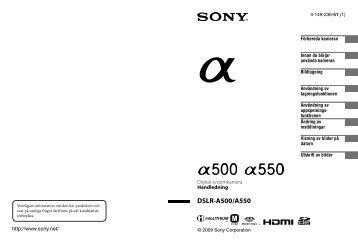 Sony DSLR-A500L - DSLR-A500L Istruzioni per l'uso Svedese