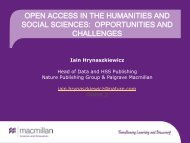 OPEN ACCESS IN THE HUMANITIES AND SOCIAL SCIENCES OPPORTUNITIES AND CHALLENGES