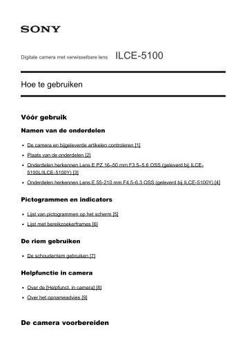 Sony ILCE-5100Y - ILCE-5100Y Guida Olandese