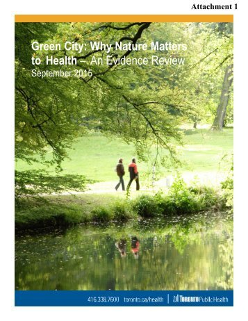 Green City Why Nature Matters to Health – An Evidence Review