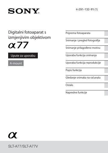 Sony SLT-A77VK - SLT-A77VK Istruzioni per l'uso Croato