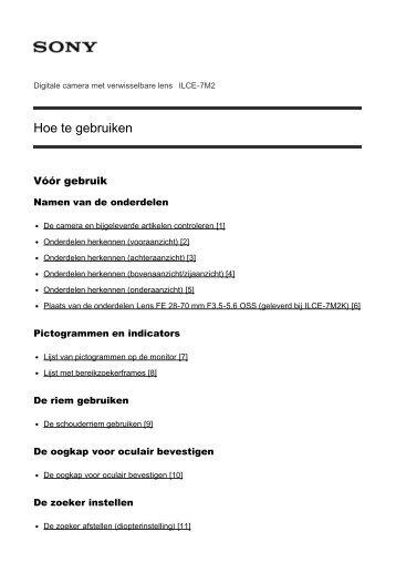 Sony ILCE-7M2 - ILCE-7M2 Guida Olandese