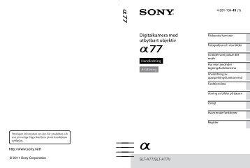 Sony SLT-A77V - SLT-A77V Istruzioni per l'uso Svedese