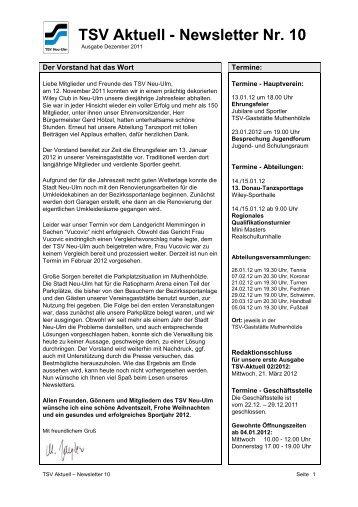 TSV Aktuell - Newsletter Nr. 10 - TSV 1880 Neu-Ulm