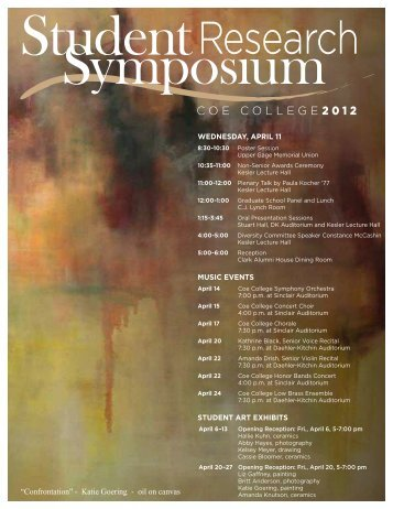 View the 2012 Student Research Symposium Program - Coe College