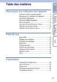 Sony DSC-TX1 - DSC-TX1 Istruzioni per l'uso Francese - Page 5
