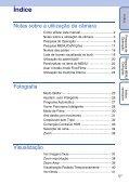 Sony DSC-TX7 - DSC-TX7 Istruzioni per l'uso Portoghese - Page 5