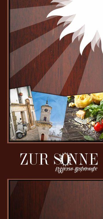 Speisekarte Pizzeria-Ristorante Zur Sonne