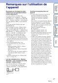 Sony DSC-TX9 - DSC-TX9 Istruzioni per l'uso Francese - Page 3