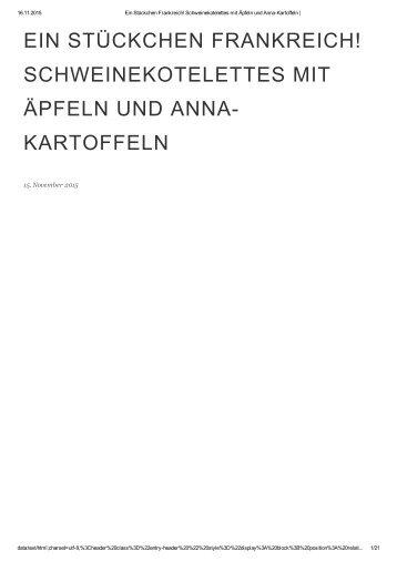 Schweinekotelettes mit Äpfeln und Anna-Kartoffeln _