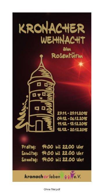 Kronacher Weihnacht 2015 Flyer