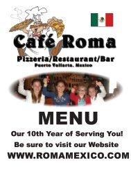Cafe Roma Menu  2015/2016