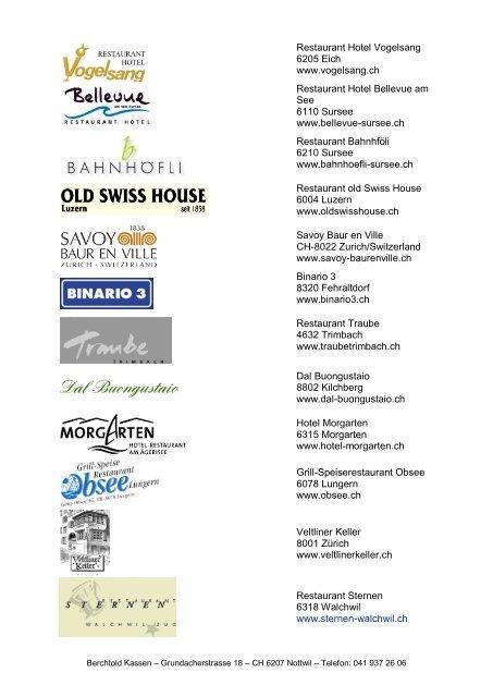 Referenzliste diverse Branchen - Berchtold Kassen