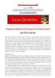 545 Urgences subjectives de la guerre en temps de paix par Éric Laurent