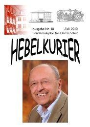 10. Hebelkurier Juli 2010 Sonderausgabe für Herrn Schür