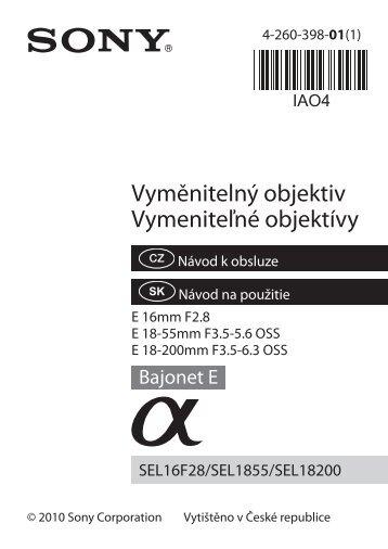 Sony SAL1855 - SAL1855 Istruzioni per l'uso Slovacco