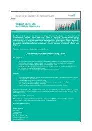 Junior Projektleiter Entwicklung (w/m) - formel d