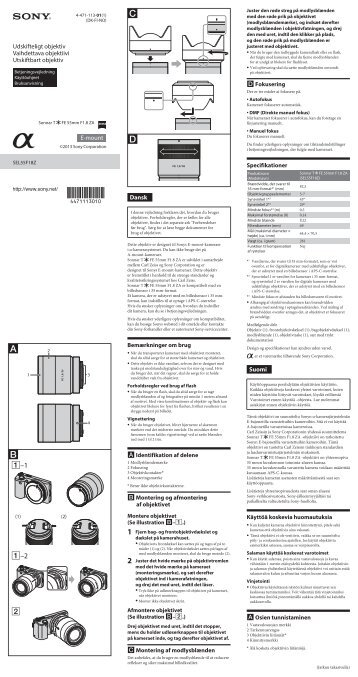 Sony SEL55F18Z - SEL55F18Z Istruzioni per l'uso Finlandese