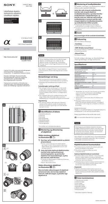 Sony SEL1018 - SEL1018 Istruzioni per l'uso Finlandese