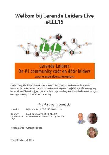 Welkom bij Lerende Leiders Live #LLL15